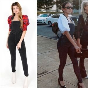 NEW WE WORE WHAT Black High Rise Skinny Overalls S